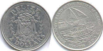coin Belize 2 dollars 1998