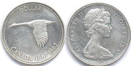 coin canadian commemorative coin 1 dollar 1967