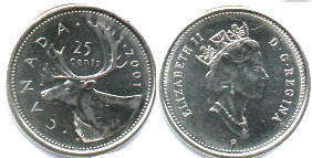 canadian coin 25 cents 2001