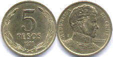 coin Chilli 5 pesos 1990