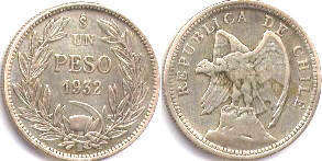 moneda Chile 1 peso 1932