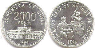 moneda Chille 2000 pesos 1993 Casa de Moneda
