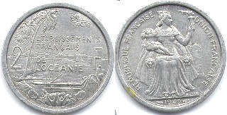coin French Oceania 2 francs 1949