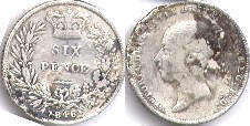 coin UK old coin 6 pence 1846