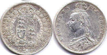 coin UK old coin half crown 1889