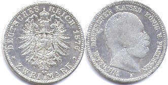 coin German Empire 2 mark 1876