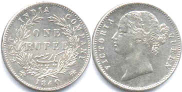 coin East India Company 1 rupee 1840