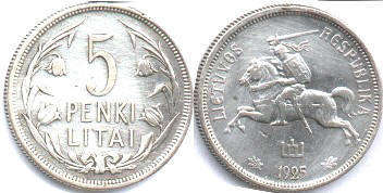 coin Lithuania 5 litai 1925