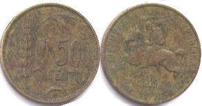 coin Lithuania 50 centu 1925