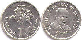 coin Lithuania 1 litas 1997