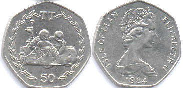 coin Isle of Man 50 pence 1984
