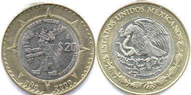 moneda Mexico 20 pesos 2000