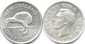 coin New Zealand 1 florin 1937
