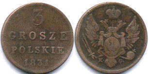 coin Poland 3 grosze 1831