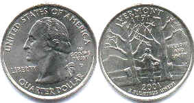 coin US commemorative coin 1/4 dollar 2001 state quarter Vermont