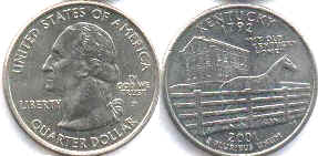 coin US commemorative coin 1/4 dollar 2001 state quarter Kentucky