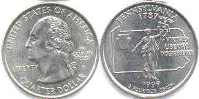 coin US commemorative coin 1/4 dollar 1999 state quarter Pennsylvania